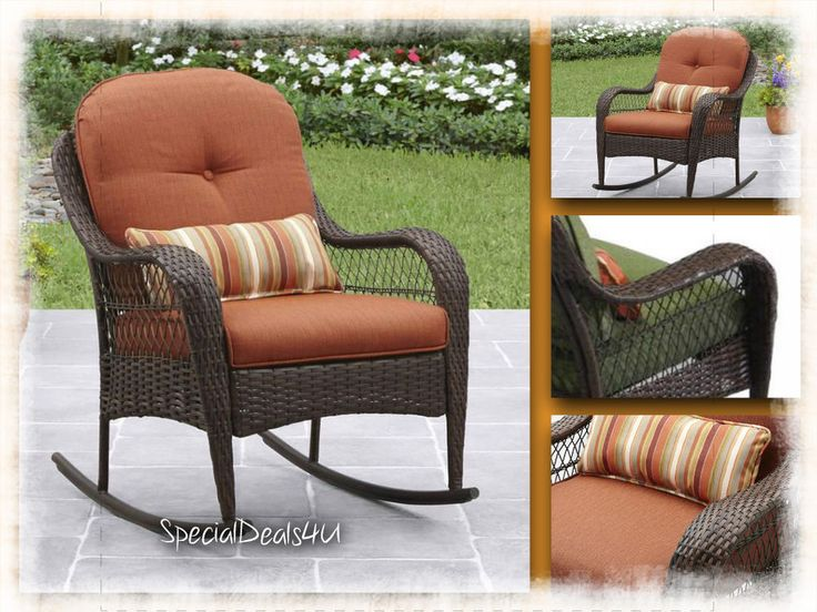 Rocking Chair Resin Wicker Outdoor Brown Patio Furniture Porch Rocker w/ Cushion #SpecialDeals4U