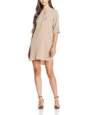 10, White (Cream), Dorothy Perkins Women's Zip Front Shirt Dress NEW