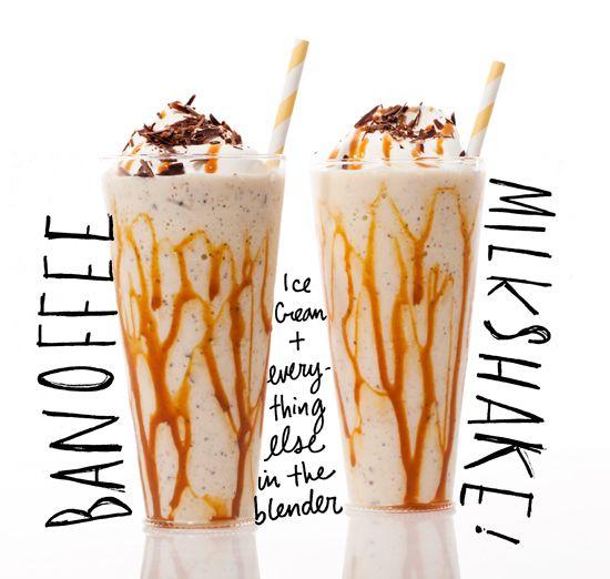 Bannoffee Milkshake: Ice cream, bananas, cookies, coffee, caramel.  Yes please!