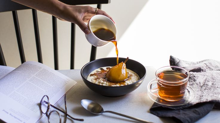Porridge with Tea-poached Pears - Cosy winter mornings were made for spoons of creamy porridge and sweet pears poached in our floral French Earl Grey.