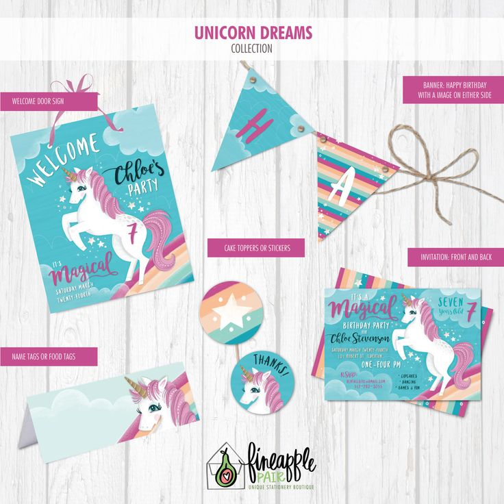 Unicorn Birthday Invite, Unicorn Invite, Unicorn Birthday, Unicorn Girl Birthday, Unicorn Girl, Unicorn Party, Unicorn Rainbow, Unicorn by FineapplePair on Etsy