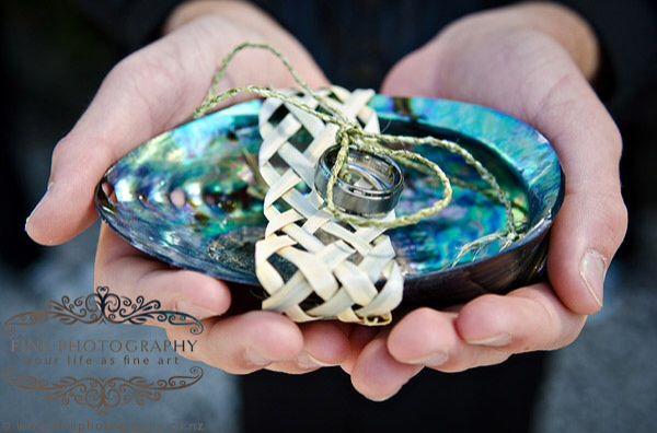 Paua ring holder.                  www.flaxation.co.nz