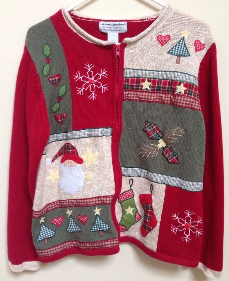 Christmas Cardigan Novelty Sweater Heirloom Collectibles Women's Ugly Sz L   eBay