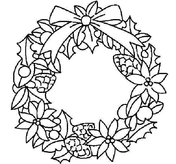 Coloring Page Wreath Of Christmas Flowers Colored By Yuan