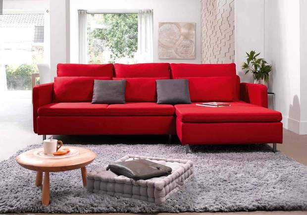 Canapé RubixCanapé d'angle fixe droit 5 placesRUBIX coloris rougecoussins gris, 1854 €, Conforama
