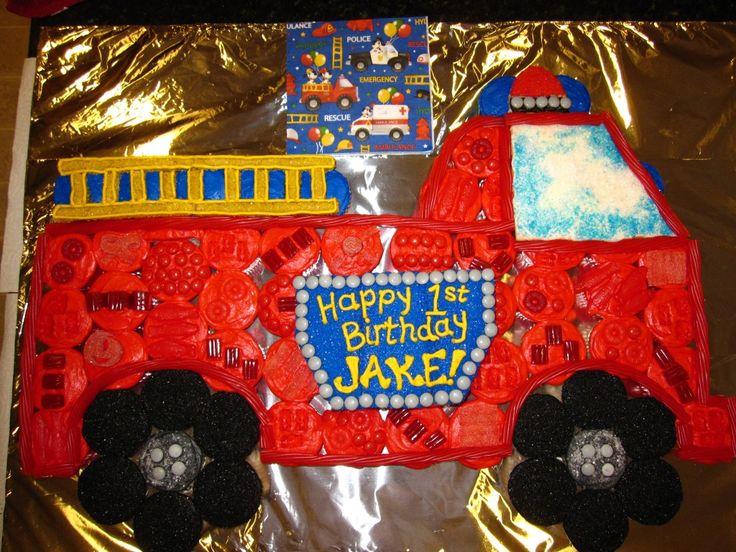 Fire Truck cupcake creation