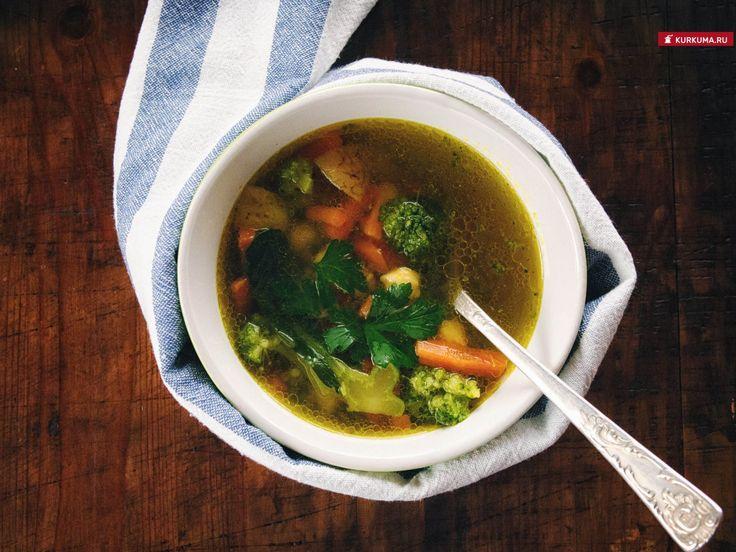 Суп из нута с брокколи