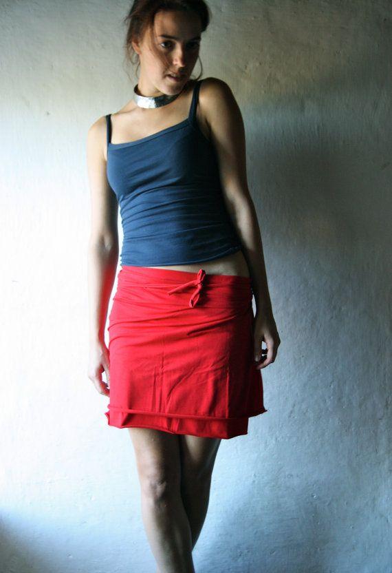 Wrap Skirt Mini skirt Red skirt Short skirt Cotton by larimeloom, €22.00