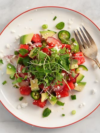 This spicy watermelon & avocado salad is a total game-changer!