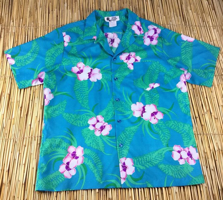 Vintage Hilo Hattie Hawaiian Aloha Shirt Floral Blue Pink Green XL Hawaii #HiloHattie #Hawaiian