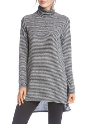 Karen Kane Women's Side-Slit Turtleneck Top - Stripe - Xs