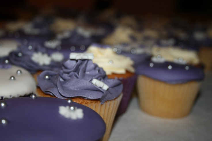 Wedding Cupcakes in Cream and Purple