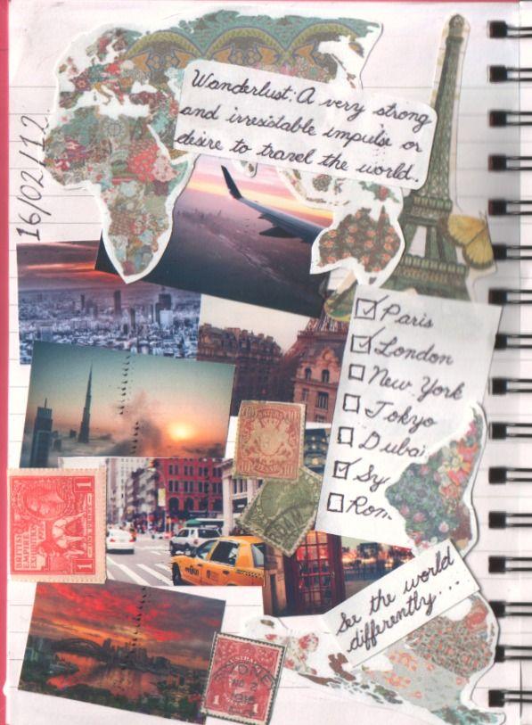 Travel Scrapbook Collage Art By Beach BOhO