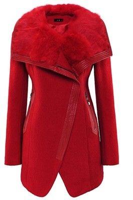 Rabbit Hair Turndown Collar PU Edge Wool-blend Coat. Found on ketutar.polyvore.com