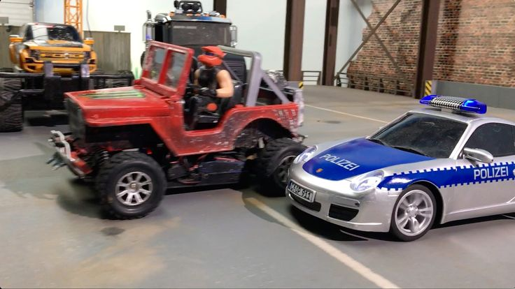 RC converted BRUDER JEEPs and Carrera RC POLICE hunt MAGOM HRC Scania 8x8