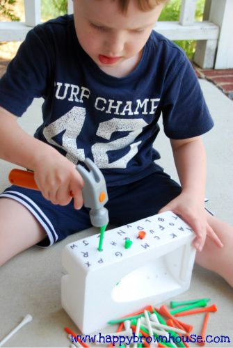 Pound the Sound - use a play hammer to pound golf tees into the styrofoam with letters written on it