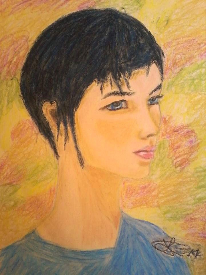 Portrait, oil pastel 35X50 cm ca.