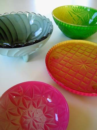 Glass Lolly Bowls. Limited editions available through Facebook when they are batch made. Look for Transmogrifier Machine