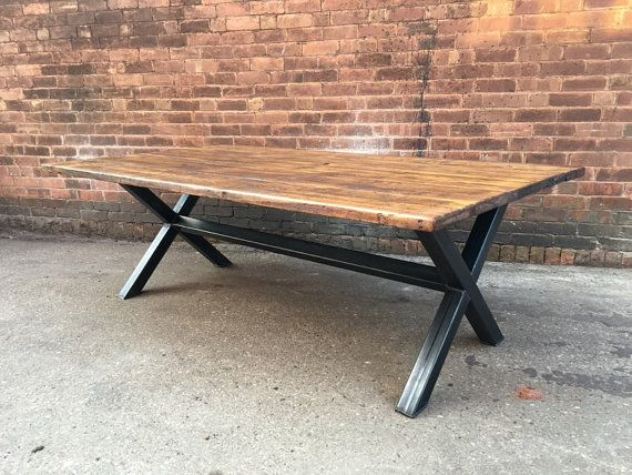 Reclaimed Industrial Chic XX 10-12 Seater Solid Wood and Metal Dining Table.Bar Cafe Bar Restaurant Furniture Steel and Wood Made to Measure