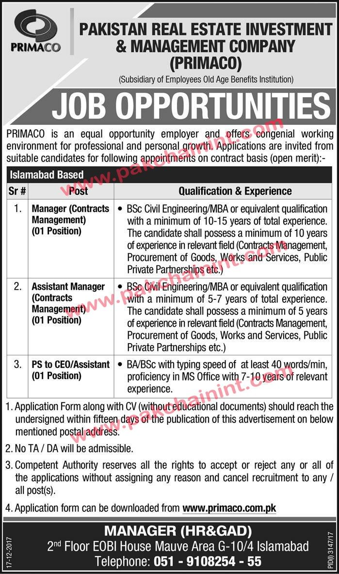 JOB OPPORTUNITIES PAKISTAN REAL ESTATE LAST DATE FOR APPLICATION 01 JANUARY 2018 Job in Primaco is an equal opportunity employer and offers the congenial working environment for professional and personal growth applications are invited from suitable candidates for following appointments on the contract basis (Open Merit).   #Application #Authority #breakingnews #Bureau #ComputerOperator #CPC #DAE #DIRECTORATEOFCONSUMER #GOVERNMENTOFTHEPUNJAB #Punjab