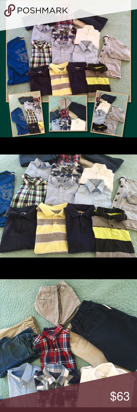 Boys 7/8 lot Boys size 7/8 lot. Four short sleeve polos. Seven button downs (the top red/blue plaid shirt is short sleeve, the rest are all long sleeve). One long sleeve button up cardigan. One blue long sleeve shirt on the left side of the cover photo. Two pair of khaki pants. One pair of navy slacks. One pair of jeans. And lastly one pair of grey shorts seen at the very top of the cover photo. Price is for the entire lot. Other