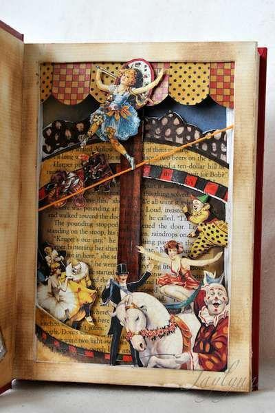 altered book: Books Sculpture, Books Art, Art Books, Art Journals, Graphics 45, Altered Books, Books Altered, Circus Books, Altered Art