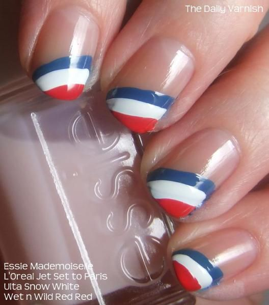 Head to Tiffany Day Spa or Asian Nails for patriotic nails like these! #ThePalmsatTowny think i might do this for the 4th I think I could do a better job or just as good