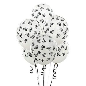 John Deere Black and White Tractor Party Balloons 6-Pack - E169859