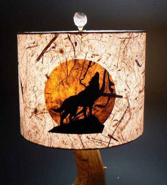 Howling Wolf Lamp Shade Artisan Papers Rustic By