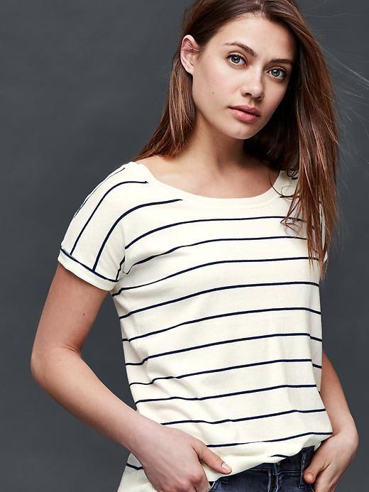Stripe short sleeve dolman tee