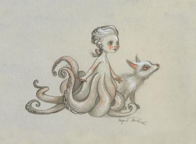 Benjamin Lacombe - dessin original du petit Mozart poulpe et son loup