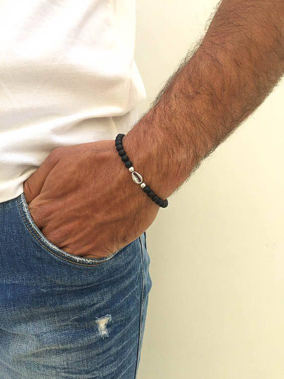 Shell Beaded Bracelet Men, Shell Bracelet, Men's Bracelet, Black Beaded Bracelet, Gift for Him, Made in Greece by Christina Christi Jewels.