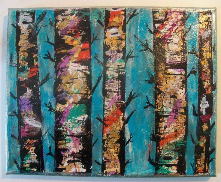 #Lovefallart -Mixed Media Canvas Birch Trees /Tutorial/ Mixed Media coll...