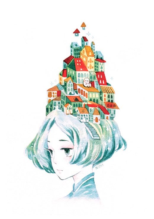 My favorite watercolorist is koyamori on deviantART because she combines realistic elements with little doodle-like creatures.