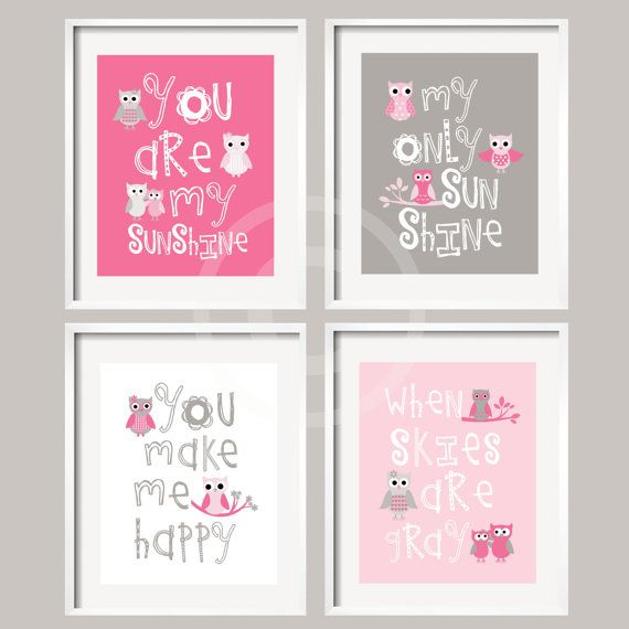 Kids Wall Art Pink and Gray Nursery Decor Prints  by YassisPlace, $59.95