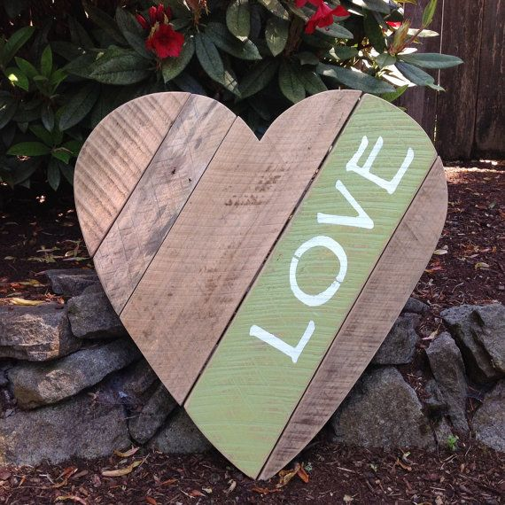 Rustic sign, Love sign, Pallet sign, Wood heart, Heart, Wedding gifts, Valentine's Day, by StoneWoodRustics