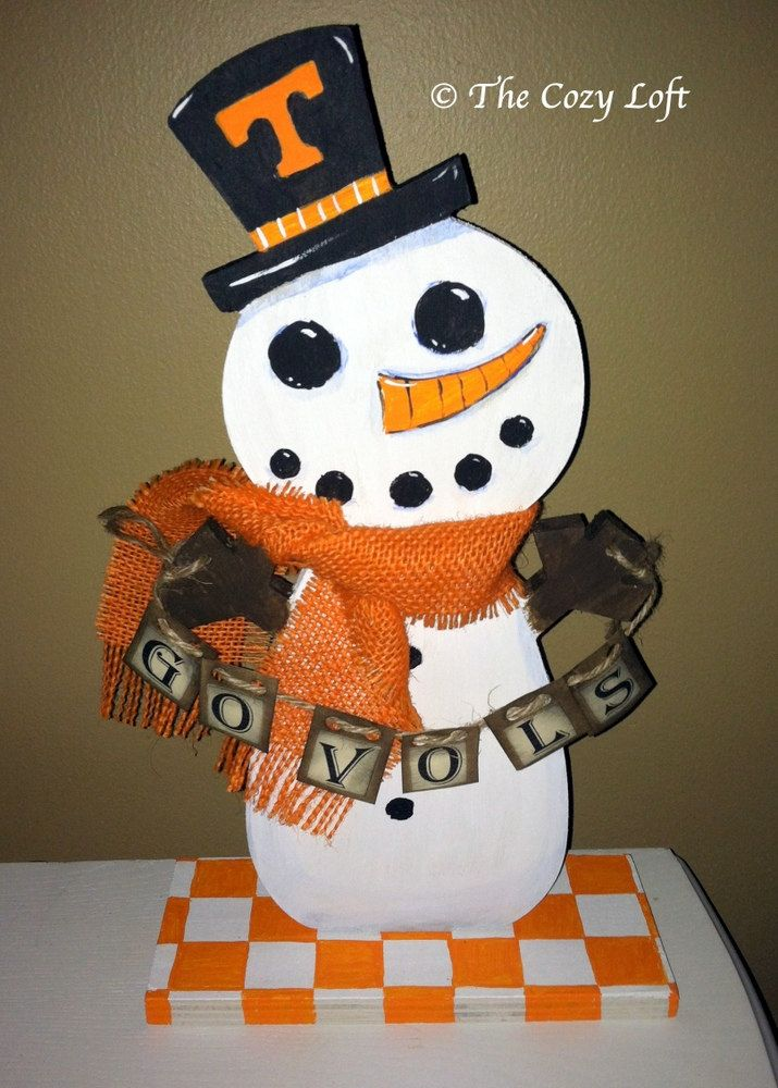 UT Vols Snowman University of Tennessee Volunteers Wood Hand Painted Original Art by thecozyloft on Etsy