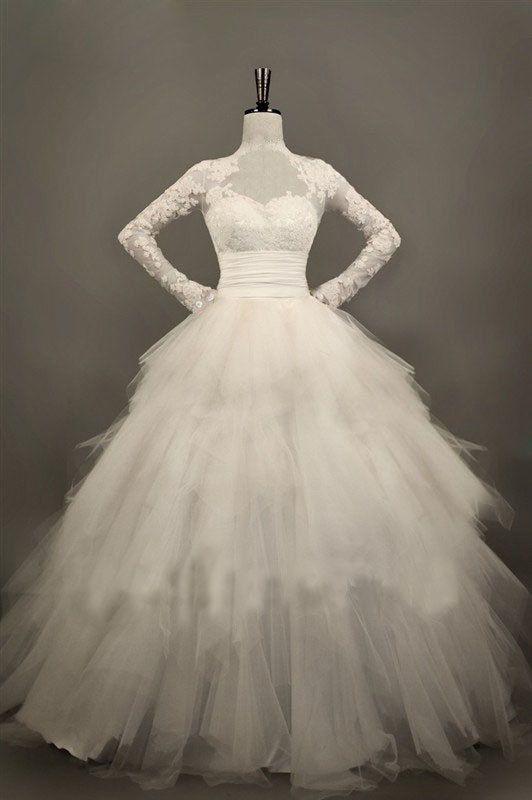 Wedding Dress,Long Sleeve Wedding Dress,Lace/Tulle Wedding Dress ,Bridal Dress