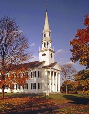 white clapboard church new england | (1829), Litchfield, Connecticut (1974 photograph). White clapboard ...