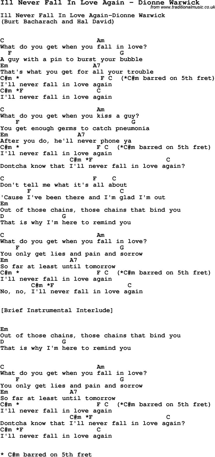 Song Ill Never Fall In Love Again by Dionne Warwick, with lyrics for vocal performance and accompaniment chords for Ukulele, Guitar Banjo etc.