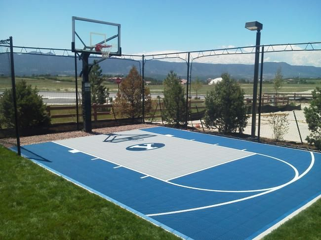 36 best images about backyard basketball courts on for Size of half court basketball court