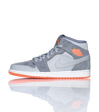 JORDAN Men's mid top sneaker Lace up closure Signature affiliate NIKE  swoosh on sides of shoe
