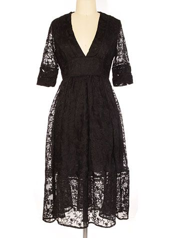 Enchanting Edelweiss Black Lace Midi Dress by Free People Clothing, Clothing, Black