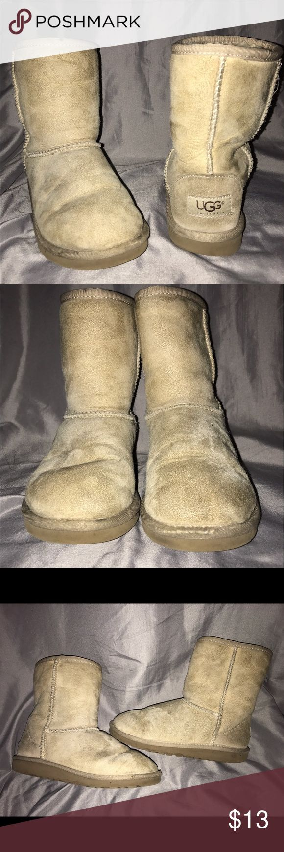 Kids UGG boots These have been used a lot and have wear on the toes. They are dirty and need cleaning, please see pictures for more details. UGG Shoes Boots
