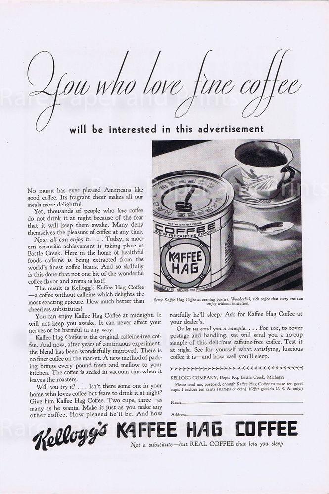 1930 Kelloggs Kaffee Hag Coffee Antique Original Print Ad From the 1930s #KelloggsKaffeeHag