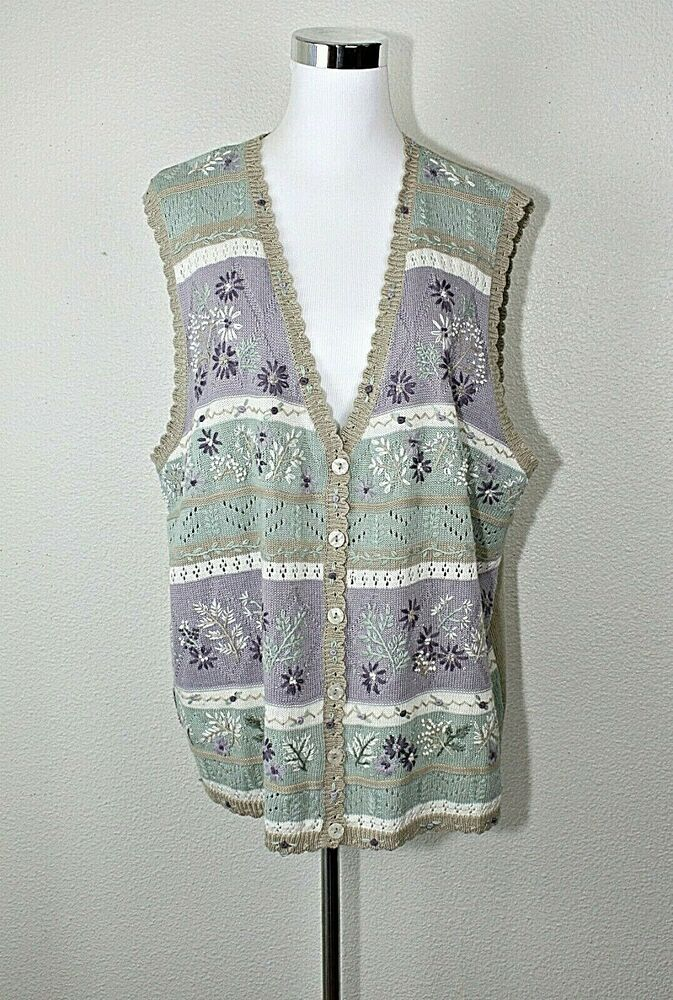 Alfred Dunner Womens Cotton Vest with Button Front