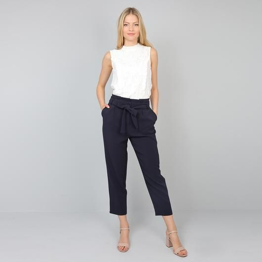Pala D'oro Bow Tie Trousers in Navy - €34.95 @carraigdonn