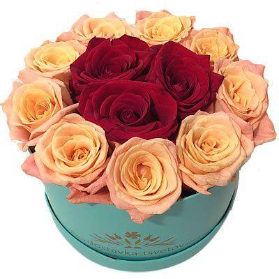 15 роз в коробке 10*15 см