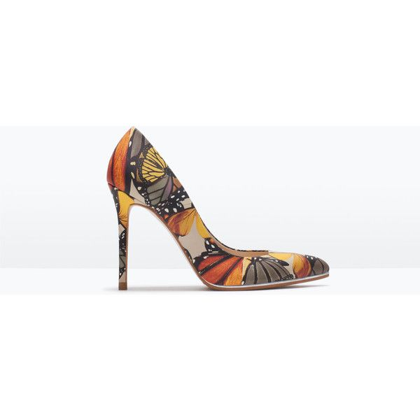 Zara Printed Leather Court Shoe ($119) via Polyvore featuring shoes, pumps, heels, multicolour, multi colored shoes, multicolor shoes, colorful shoes, zara pumps and real leather shoes