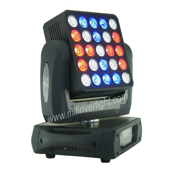 F‐25‐12 - 25*12W RGBW CREE 4in1 Matrix Wash/Beam Moving Head ‐ Beam Angle: 7 Degrees ‐ Pan: 545°, Tilt: 270° ‐ Digital Strobe & Dimmer: 0‐100% ‐ DMX Channels: 19/29/117 ‐ Music, Automatic, Master‐Slave Operation